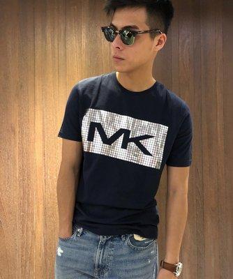 美國百分百【全新真品】Michael Kors 短袖 T恤 MK 上衣 T-shirt 燙銀 logo 深藍 I890