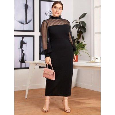 大方高端女裝L-4XL women dresses plus size elegant big ladies gauze skirt