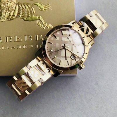 BURBERRY 鋼帶 金色 英倫 戰馬 手錶 情侶對錶 BU9038 BU9145