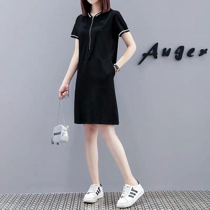 韓版氣質學院風連身裙洋裝長版T恤