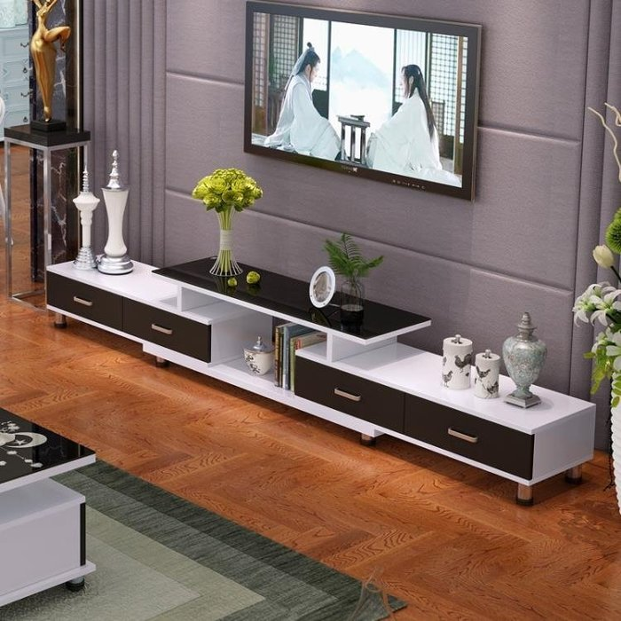 鋼化玻璃伸縮電視櫃茶幾組合簡約現代歐式小戶型客廳電視機櫃FA