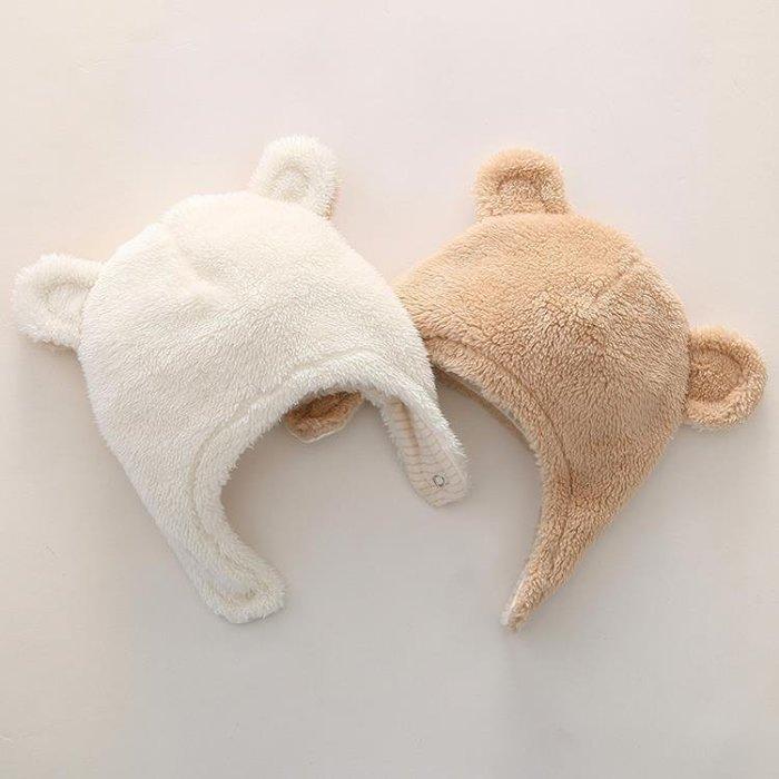 嬰兒帽子 可愛冬款保暖男女寶寶法蘭絨帶扣帽子 嬰兒帽子加厚0-18個月