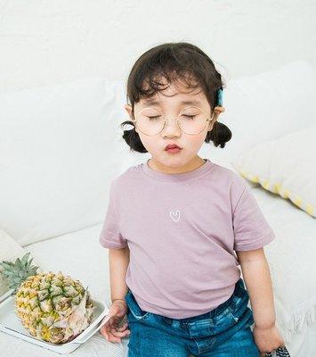夏季新款童裝女童兒童短袖小童寶寶韓版純棉愛心刺繡T恤