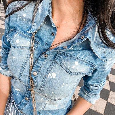 《巴黎拜金女》ins超火的牛仔襯衫女修身藍色bf復古短袖上衣
