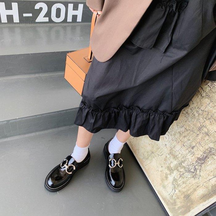 Love in Se韓國女鞋 InkingPot2020新款英倫風復古圓扣厚底大頭樂福鞋皮鞋女MONA同款