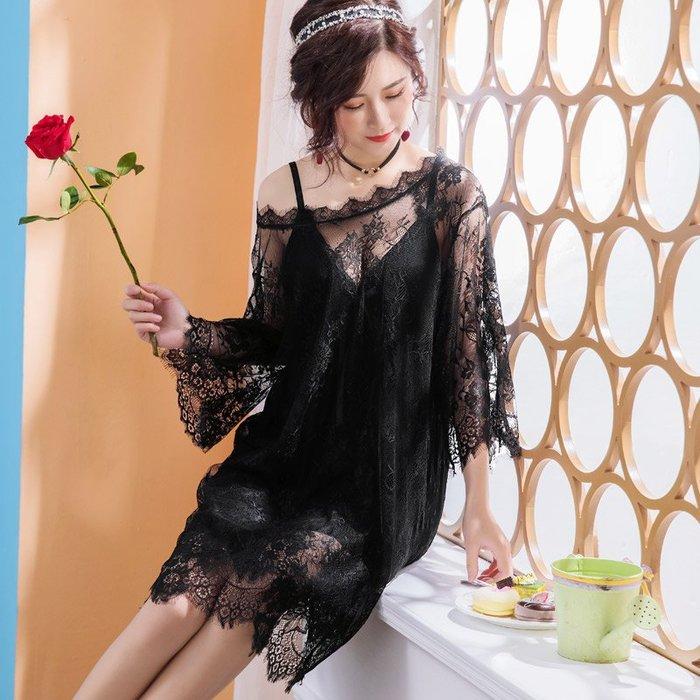 性感睡衣秋夏套裝帶胸墊睫毛蕾絲網紗吊帶罩衫V領黑色睡裙可外穿-青木居家