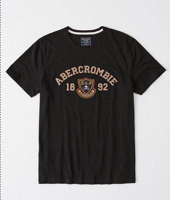 AF Abercrombie and Fitch A&F 男生刺繡圖案經典短tee 全新正品 現貨在台 M號 深藍色