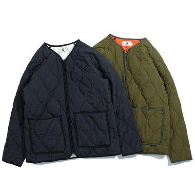 ∵ PRAY FOR FASHION ∴阿美咔嘰軍事氣息寬鬆鋪棉保暖絎縫夾棉外套內膽無領棉衣撞色外套