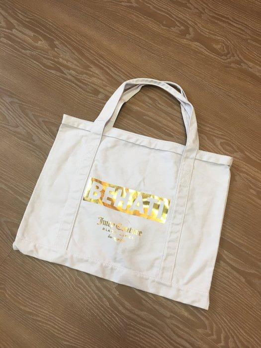 *Beauty*Juicy Couture白色燙金LOGO帆布包 購物包