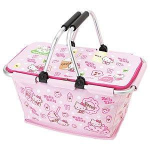 *凱西小舖*日本進口正版三麗歐凱蒂貓新生活系列可收納手提置物籃/野餐籃