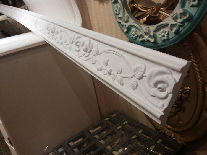 歐式 PU浮雕 平線板 裝飾框巴洛克天花板框邊修飾一支 240公分 玫瑰花 白色底漆未含運送費$430
