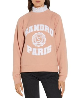 Sandro Blason Ruffled Collar Layered-Look Sweatshirt