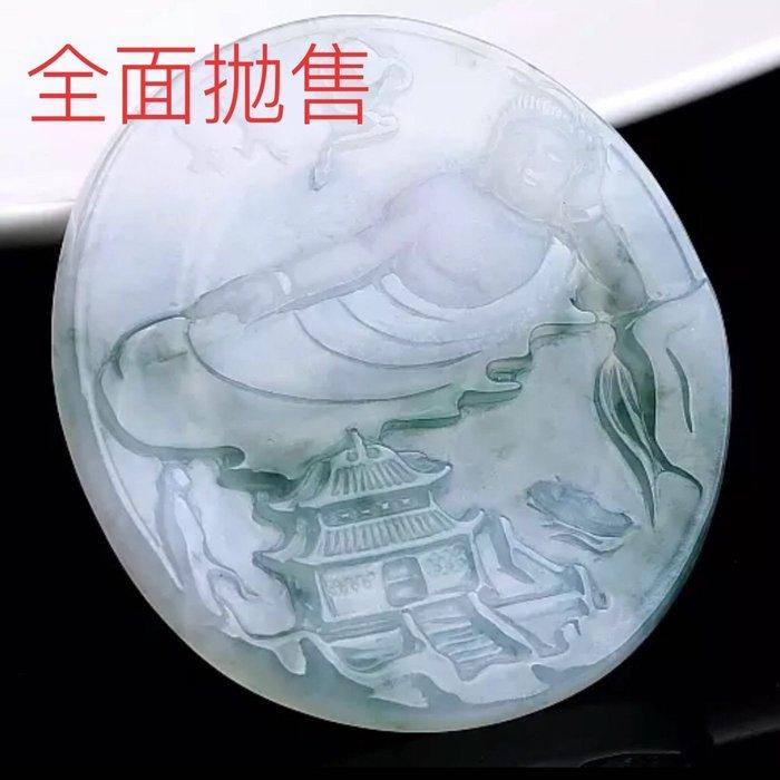[福報來了]老坑冰種飄花翡翠 臥佛 掛件 24.44g冰透加碧綠配色恰如寓意(編號335)