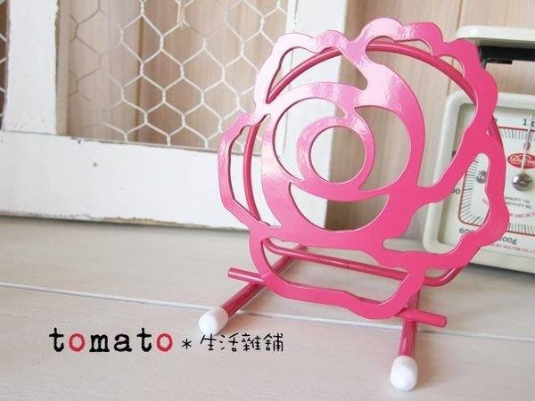 ˙TOMATO生活雜鋪˙日本進口雜貨桃紅玫瑰造型托盤放置架