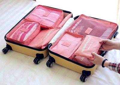 【東京數位】韓版 六件組 旅遊收納袋 背包行李袋 護照包 夾 旅行袋 護照 行李箱 吊牌 收納 盒