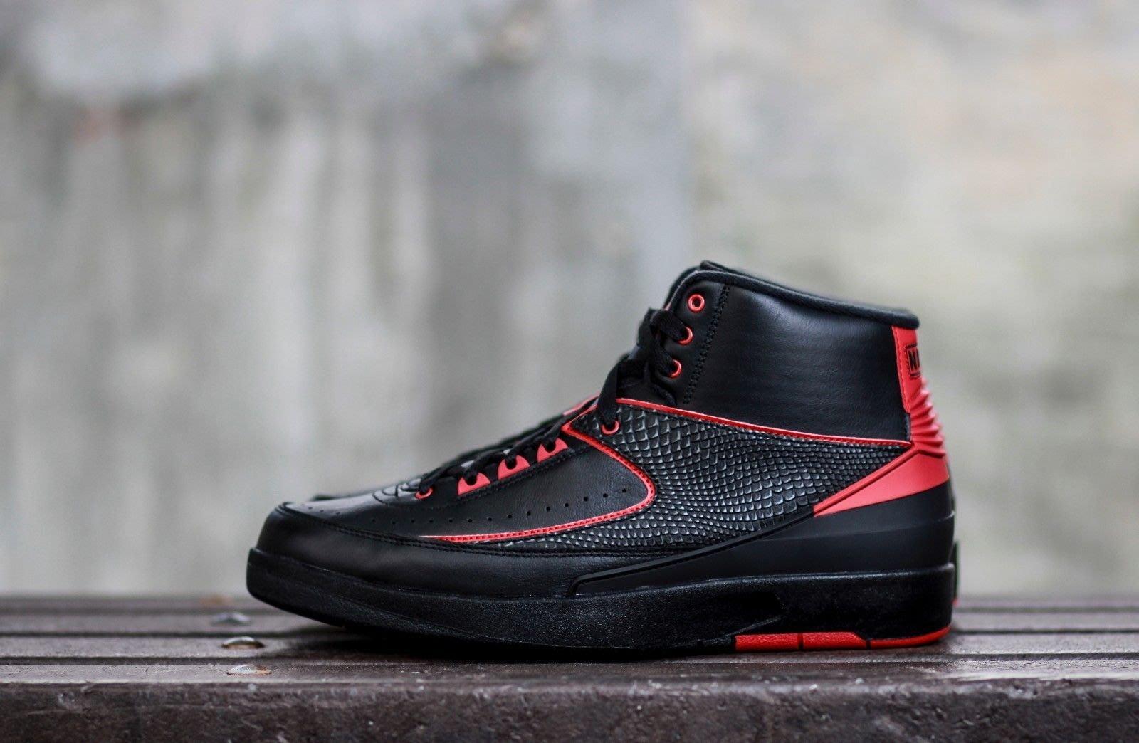 Nike Air Jordan 2 retro Alternate '87 834274-001喬丹AJ-2公牛黑紅蛇紋