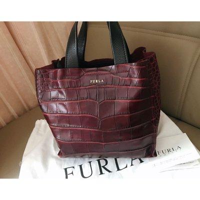 Italy Furla brown red leather bucket bag tote wallet 意大利名牌酒紅色真皮特別鱷魚壓紋真皮手袋 joyce