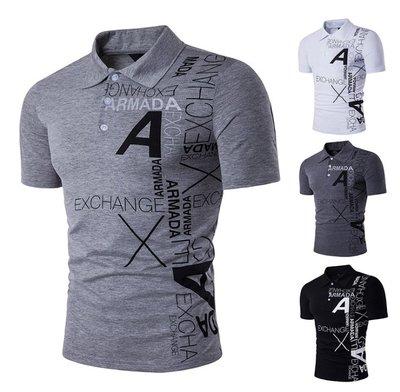 時尚服飾 2018鏤空外貿新款男士歐美風A字母印花翻領短袖大碼T恤 B72