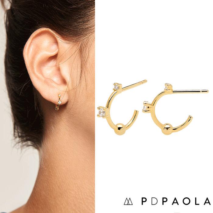 PD PAOLA 西班牙時尚潮牌 鑲鑽C型耳環 金色小圓耳環 925純銀鑲18K金 KAYA GOLD