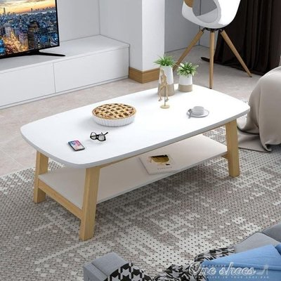 ZIHOPE 實木茶幾簡約現代茶幾小戶型矮桌小桌子創意咖啡桌組裝客廳茶幾ZI812