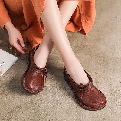 *菇涼家*手工真皮女鞋復古森系浅口平底单鞋套脚圆頭娃娃鞋