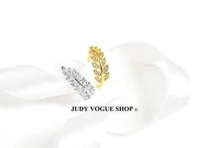 韓國 戒指 齊狀枝葉鋯石戒指 可調式戒指 鋯石戒指 古典優雅 JUDY VOGUE SHOP【JRI-0009】