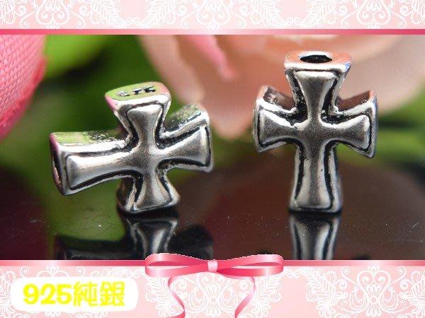 【EW】S925純銀DIY材料配件/硫化染黑厚版祈福十字架D(直穿)~適合手作蠶絲蠟線/幸運衝浪繩(非316白鋼)