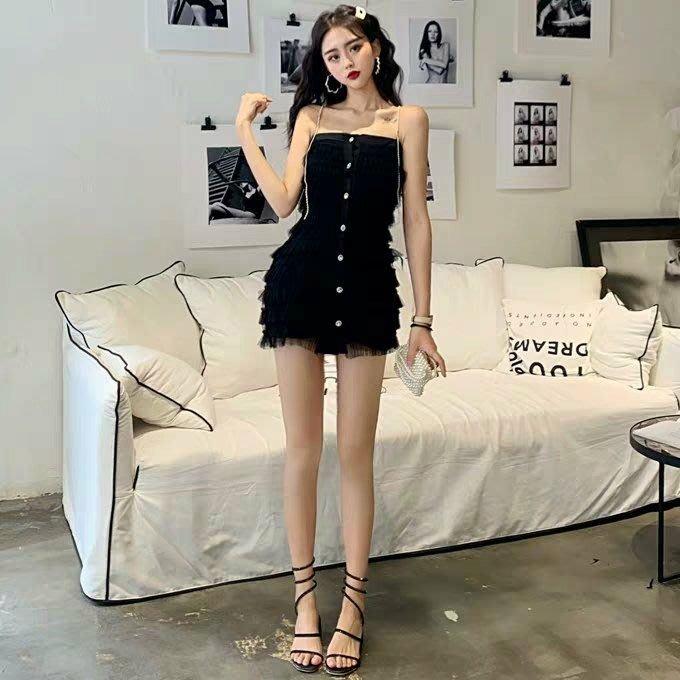 Qmi 2019夏季新款修身顯瘦性感網紗蛋糕吊帶連衣裙