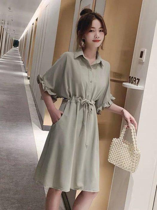韓版雪紡優雅收腰顯瘦連身裙洋裝