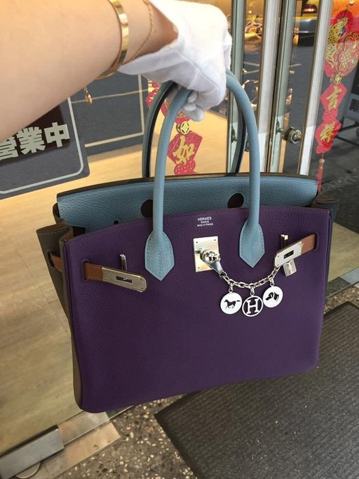 典精品 Hermes 限量 紫 錫灰 大象灰 深藍 藍 焦糖 六拼色 6拼色  Birkin 30 cm  超美 現貨