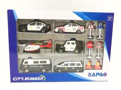 正版EAPAO六入車隊警車與交通號誌組合