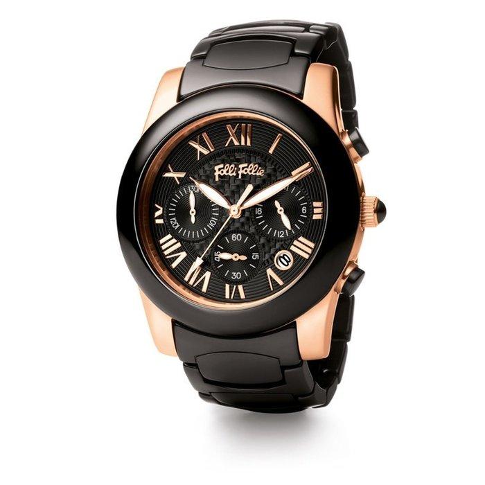陶瓷女錶【Folli Follie】Classy Chic系列 經典時尚羅馬都會陶瓷錶 不鏽鋼鍍玫瑰金色錶 42mm錶面