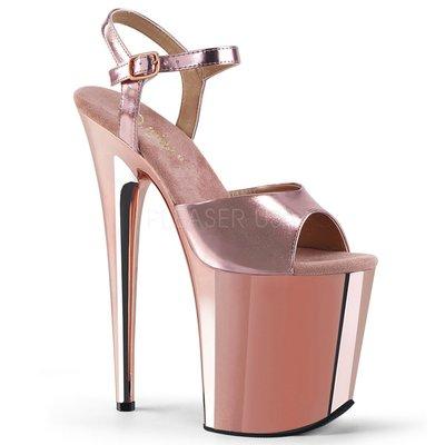 Shoes InStyle《八吋》美國品牌 PLEASER 原廠正品金屬鍍鉻極端厚底高跟涼鞋 有大尺碼 『玫瑰金色』