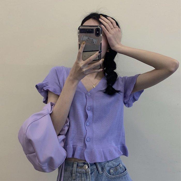 短袖針織衫 冰絲 韓版修身顯瘦短款木耳邊外搭洋氣短袖 針織衫 上衣女裝