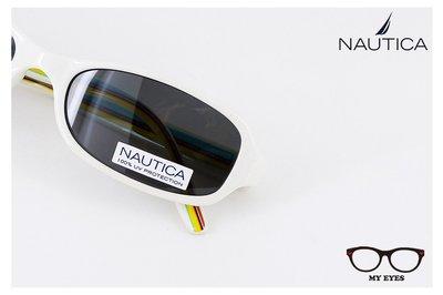 【My Eyes 瞳言瞳語】Nautica 乳白色膠框太陽眼鏡 彩虹風格 偏光鏡款式 小臉/兒童/休閒皆宜