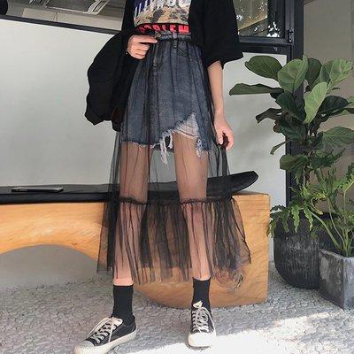 bf長裙00后學生韓版學院復古個性沙裙子網紗半身假兩件女拼接夏天