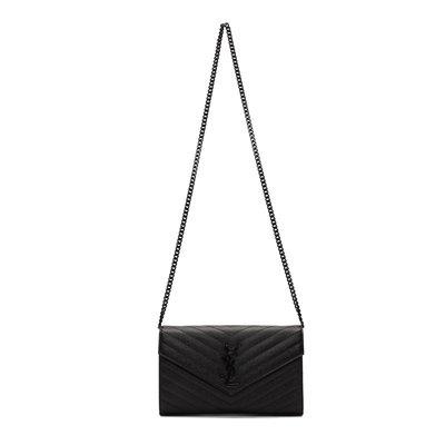 [全新真品代購] SAINT LAURENT 黑色黑鍊 YSL monogram 鍊包 / 肩背包 (WOC)