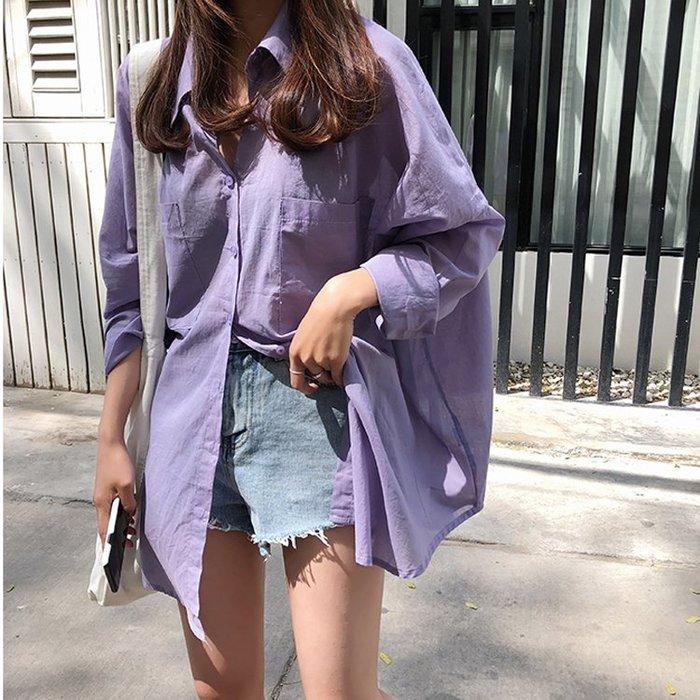 薄款純色防曬襯衫寬鬆顯瘦大碼休閒襯衫
