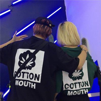 韓國百搭復古楓葉印花圖案寬松bf情侶裝 短袖T恤學生女
