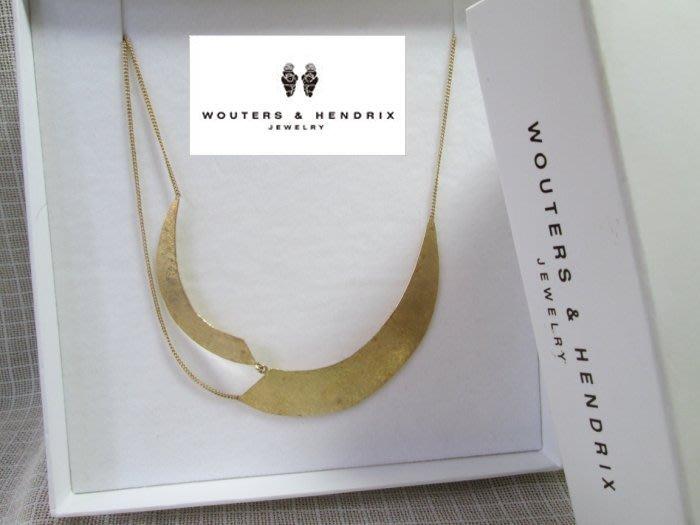比利時珠寶設計師 WOUTERS & HENDRIX 沃特斯和亨德里克斯 純銀925鍍金 不規則流線項鍊