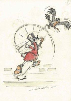 迪士尼 藝術家Z. Vendetta原創藝術作品Uncle Scrooge and The Crow 附簽名, 附證書