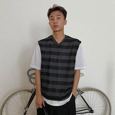 KOREALINE搖滾星球 / V領寬鬆亞麻條紋針織背心 / 2色 / YUE3747