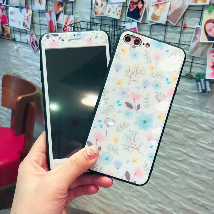 爆款熱賣-小清新蘋果8plus手機膜X鋼化彩膜7P全屏覆蓋iPhone6S防摔玻璃殼女