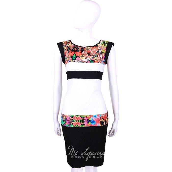 米蘭廣場 CLASS roberto cavalli 黑白色拼接印花無袖洋裝 1520568-37