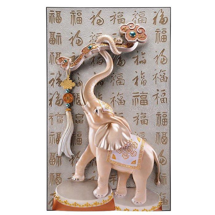 5Cgo【茗道】新中式玄關裝飾畫豎版進門過道3d立體浮雕大氣招財大象歐式挂畫吉祥如意富貴臨門簡約572332025255