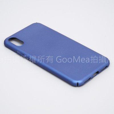 GooMea 4免運 Apple iPhone XS 5.8吋四邊包覆硬殼 彈性硬殼可掛吊繩吊飾 保護套 手機殼 藍玫