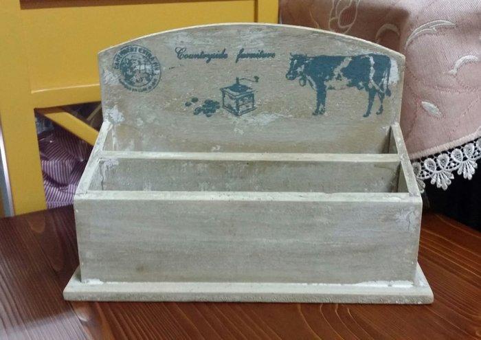 美生活館 美式鄉村刷舊處理  乳牛文具盒 搖控器 信件 筆桶 桌上置物架 擺飾 掛飾 店面 民宿 居家