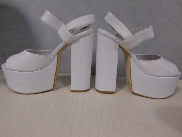 """粗跟鞋 """"西西莉亞""""最新款頭層牛皮純白色 模特專用鞋 設計師指定款舞臺定制鞋 貨號:90123"""