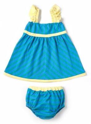 日本DADWAY Apparel女童洋裝(土耳其藍+芥末黃)-90cm clearance sale