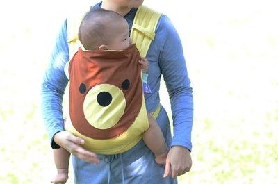 寶貝抱抱烏龜背巾 後揹 布環式 可愛熊背巾 附帽子